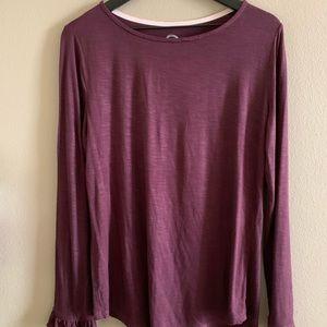 Burgundy long sleeve tee🌸